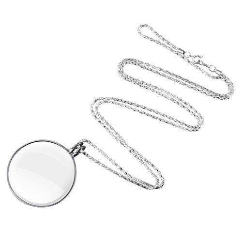 Handlupe Lesehilfe Mini Leselupe 5x Vergrößerung Taschenlupe Sehhilfe Lupe mit Halskette Glaslupe für Lesung Handarbeit Beobachtung Münzen Vergrößerungshilfe Schmuck Vergrößerungsglas Silber