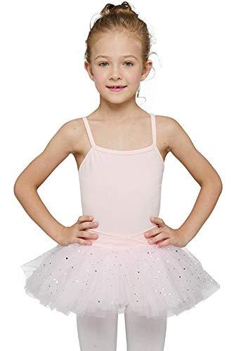 MdnMd Pink Camisole Dance Ballet Tutu Leotard Dress Ballerina Outfits for Toddler Girls Dancewear (Age 2-4 / 2t,3t)