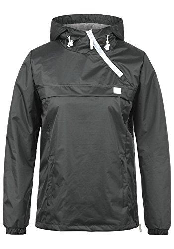 BlendShe BlendShe Brij Damen Windbreaker Übergangsjacke Regenjacke Mit Kapuze, Größe:L, Farbe:Ebony Grey (75111)