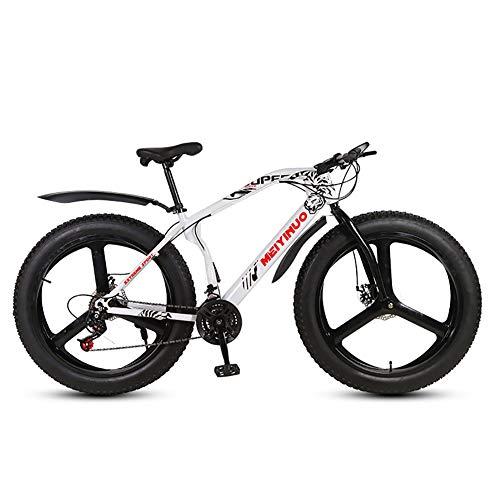 HECHEN 26 Zoll Fatbike 21/24/27 Geschwindigkeit Fat Reifen Mountainbike Doppelscheibenbremsen Fahrrad, MTB Hardtail 4.0 fette Reifen Bike,Weiß,21 Speed