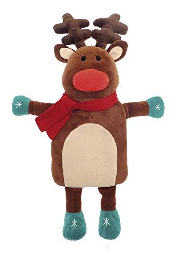Botella de agua caliente para niños con tapa 1L 100% Caucho Natural Peluche Conejo Koala Reno de Navidad Elf...