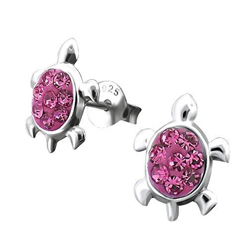 Laimons Mädchen Kids Kinder-Ohrstecker Ohrringe Kinderschmuck Schildkröte Reptil Glitzer pink glanz aus Sterling Silber 925