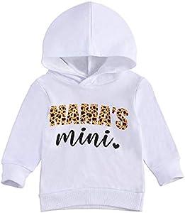 Eghunooze Mamas Mini Letter Print Sudadera de manga larga con capucha para bebés recién nacidos, primavera, otoño, para 0-24 meses Blanco 6-12 Meses