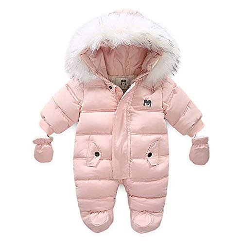 Kaizizi Infant Baby Boys Girls Winter One Piece Footed Snowsuit Fur Trim Hooded Zipper Jumpsuit Coat Thick Warm Down Rompers Outerwear with Gloves (Pink, 9-12 Months)
