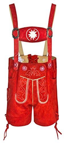 FROHSINN Trachtenlederhose Kinder und Baby - (rot, 86) Kurz mit abnehmbaren Hosenträgern - rot und braun - Trachten Lederhose Original Jungs und Mädchen - Alle Größen!