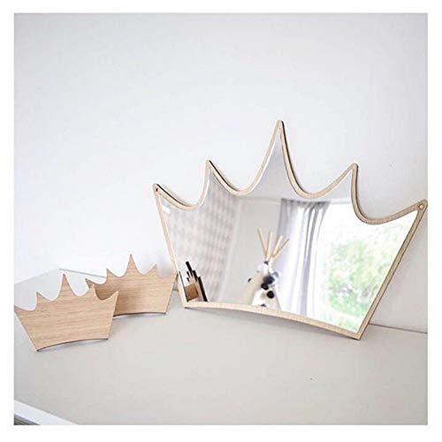 Decoración para habitación de niños, decoración inastillable, decoración de madera, acrílico, espejo para jardín, decoración de pared beige corona