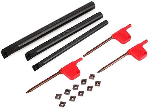 Soporte de barra de torneado interno aburrido de torno SCLCR + 10 piezas CCMT0602 inserto + llave de 3 piezas para barra de perforación SHB de máquinas herramientas CNC
