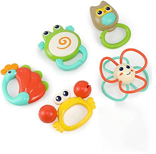 HOLA Rassel Beißring Baby Spielzeug 0 3 6 9 Monate, 5 Pcs Shaker Greifling Motorik Sensorik Babyspielzeug Neugeborenen Babyrassel Beissring Set, Kleinkind Lernspielzeug Mädchen Jungen Geschenke