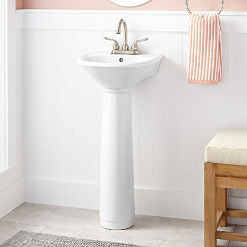 """Signature Hardware 912332-1 Farnham 15-1/2"""" Vitreous China Pedestal Bathroom Sink with Single Faucet Hole and Sink Overflow"""