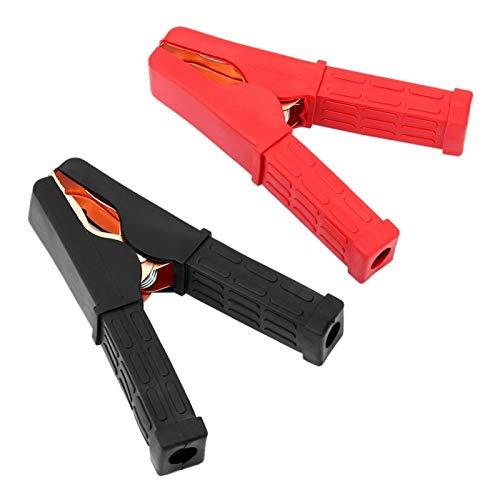 Cable de puente de batería con pinza de cocodrilo, 1 par de cables de puente de batería de emergencia para automóvil, color negro y rojo