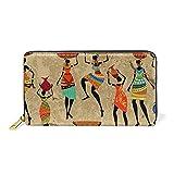 WowPrint - Cartera de piel para mujer africana vintage de gran capacidad, bolsa de embrague para almacenamiento de teléfono para viajes de compras
