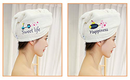 2 pieces of soft microfiber quick-drying dry hair towel super absorbent dry hair cap shower shower bag headband, with buttons for easy use, suitable for all hair types and lengths, fresh patterns