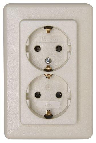 Kopp Europa contactdoos 1-voudig voor het huishouden, 250V (16A), IP20, geaard stopcontact, eenvoudige wandmontage, arctisch wit, 113613087 2-voudig 2-fach ohne Berührungsschutz Crme-wit.