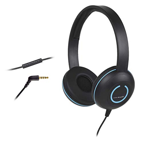 Cyber Acoustics Lightweight On-Ear Headphones/Headset with Noise canceling Microphone and in-line Volume/Play/Pause Controls and 3.5mm Plug. Great for use with Cell Phones,Tablets, laptops (AC-5010)
