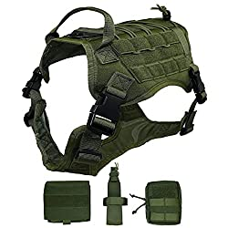 Ultrafun Tactical Dog Harness with Patches Pouches Handle