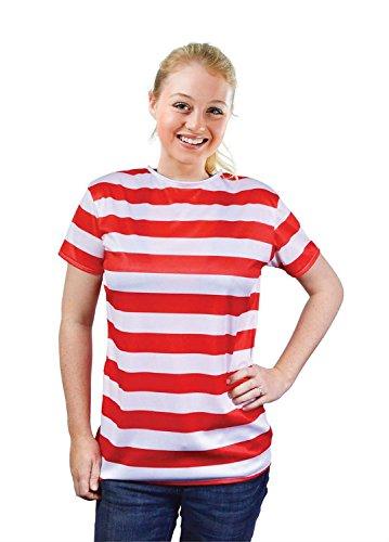 Striped Ladies Shirt. Red/White