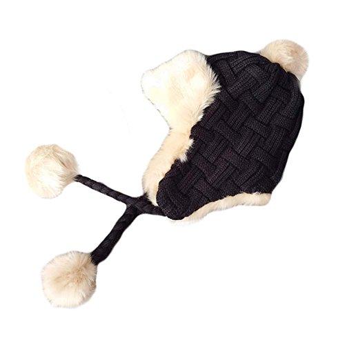 BLANCHO BEDDING Sombrero Grueso de Gorrita Tejida Sombrero de oído Caliente del Invierno Sombrero Hecho Punto Sombrero Suave del esquí G