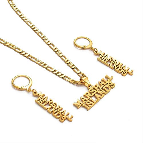 duoyunxiayu Collar Islas Marshall Collares Pendientes Conjunto de Joyas Joyas de Color Dorado Regalos de Fiesta Estilo isleño