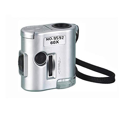 Lampe 9592 Mini-Mikroskop mit 60-facher Vergrößerung, mit LED-Schmuck, Antiquitäten, Identifikation, Lupe, Glas, LED-UV-Licht