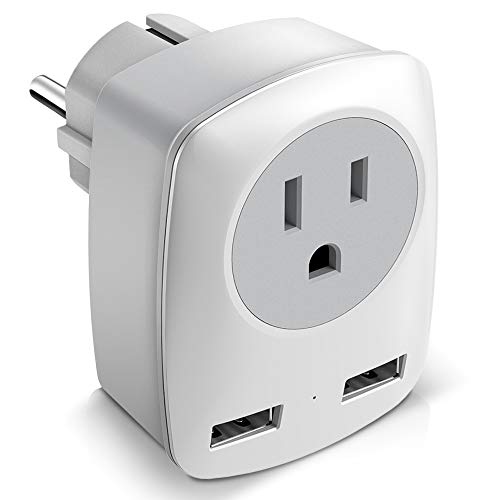 Europe Travel Adapter, European Plug Adapter for America to France/Germany/Italy/Finland/Greece/Iceland, International Power Adaptor 2 USB & 1 US Outlet to Charge iPhone iPad Laptop (Schuko Type E/F)