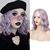 FESHFEN Lilac Purple Short Bob Wig for Women 14 Inch Natural Pastel Curly Wavy Wig with L Part Shoulder Length Synthetic Colorful Costume Cosplay Wigs