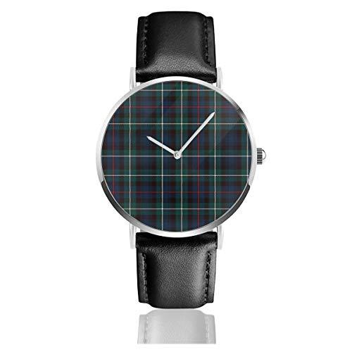 Mackenzie Tartan Plaid Outlander Classic Casual Fashion Quarzuhr Edelstahl Lederband Uhren