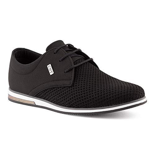 Fusskleidung Herren Business Schnürer Casual Halb Sneaker Schuhe Anzugschuhe Schwarz EU 40