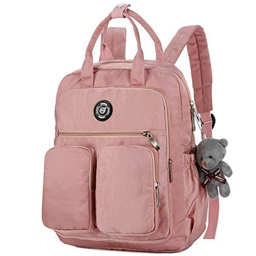 Student Fashion Bag Casual Rucksack, Wasserdichte Polyester Gürtel Puppe Rucksack Jugend Wandern Rucksack Unisex Schultasche (Color : Pink)