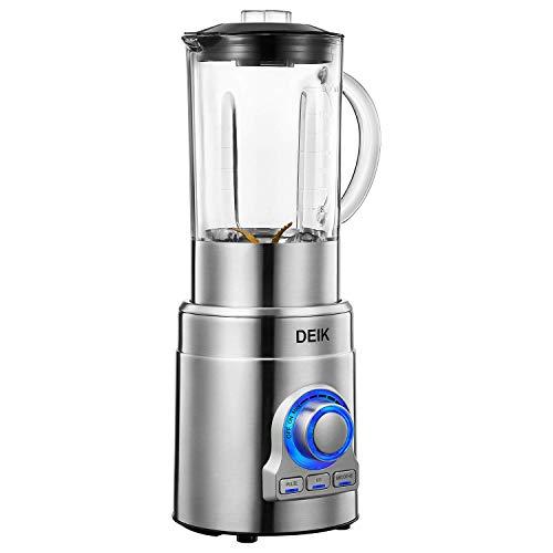 Frullatore, 1000W Blender, 3 in 1 Frullatore ( Frullatore per Frullati e Smoothie, Tritaghiaccio), Frullatore Professionale con 6 Lame in Titanio e Vaso in Vetro 1.8Litri, 15 Velocita, Acciaio Inox