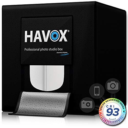 HAVOX - Fotostudio HPB-40D - Maße 40x40x40cm - Dimmbare LED-Beleuchtung Tageslicht 5500k - 13,000 Lumen - CRI 93 - Machen Sie Ihre kommerziellen Fotos zu E-Commerce