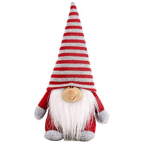 Muñeca de Navidad atada gnomo de barba hecho a mano Navidad Papá Noel sueco Tomte muñeca de juguete decoración del hogar para decoración del árbol de Navidad
