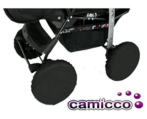 Camicco Radschutz ** COVER ** Radschutzhüllen für Kinderwagen / Buggy / Jogger -- Der ideale Schutz für Auto, Wohnung und co. vor verschmutzten Kinderwagenrädern (4er Pack)