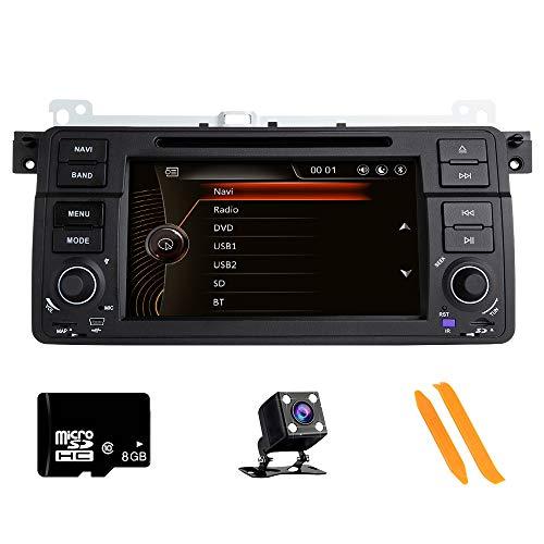 Autoradio Stereo, ZLTOOPAI für BMW E46 Rover 75 MG ZT 7-Zoll-HD-Multi-Touch-Autoradio GPS-Radio DVD-Player mit kostenloser Kartenkarte Werkzeuge zum Entfernen der Rückfahrkamera
