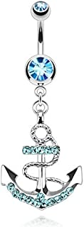 Nautical Anchor Gemmed Belly Ring 316L Surgical Steel 14g Dangle Navel Ring