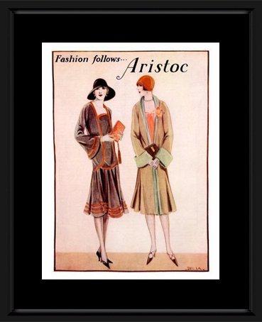 Vinmag Kunstdruck, Motiv Aristoc Strümpfe, Art Deco, 1920er-Jahre, gerahmt, mit Wandaufhängung, 48 x 38 cm