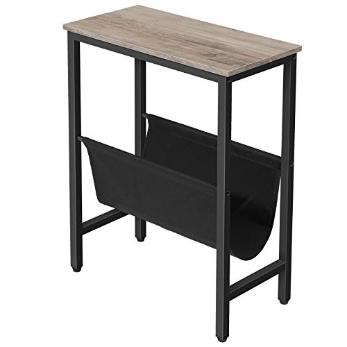 HOOBRO Side Table, Narrow End Table with Magazine Holder Sling, 18.9 x 9.4 x 24 Inch Industrial Nightstand for Small Spaces, Wood Look Accent Furniture with Metal Frame, Greige + Black BG41BZ01