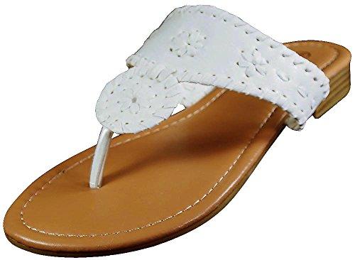 Pierre Dumas Womens Rosetta 1 Fashion Flip Flop Sandals,White,10