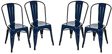 featured product Glitzhome Vintage Stackable Metal Side Chairs Light Navy Blue,  Set of Four