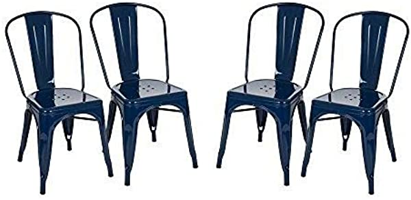 Glitzhome JK85044 NAVY Metal Side Chairs 17 72 20 08 33 46 Navy