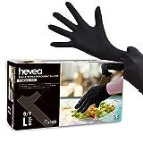 Hevea - Gants en nitrile jetables. Sans talc et sans latex. Boîte de 100 gants. Taille : L (Grande). Couleur : noir