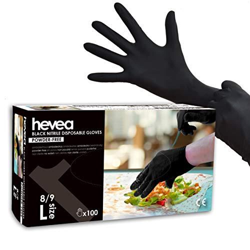 Hevea - Einweghandschuhe aus Nitril. Puder- und latefrei. 1 Karton mit 100 Handschuhen. Größe: L (groß). Farbe: Schwarz