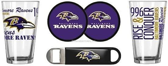Titan WebStores LLC NFL Football Spirit Beer Pints Gift Set - Pint Glasses (2), Vinyl Coasters (2) & Stainless Steel Opener (1)