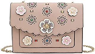 Fashion Small Flower Pattern Hollow One Shoulder Chain Bag Envelope Bag (Pink) Girls Handbag