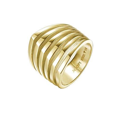 Joop! Damen-Ring JP-T Lines Edelstahl teilvergoldet Gr. 57 (18.1)-JPRG10645B180