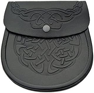 Black Genuine Leather Sporran Celtic Knot Double Embossed Scottish Kilt Sporran w/Chain and Belt