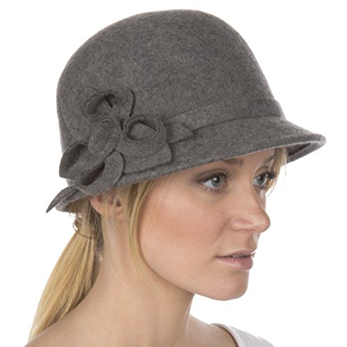 Sakkas 0121LC - Womens Vintage Style 100% Wolle Cloche Eimer Winter Hut mit Band Blume Akzent - Holzkohle/One Size