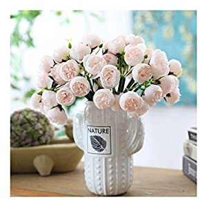 NYKK Decoration Artificial Bouquet Simulation Tea Rose Home Table Decoration Flower Hand Bouquet Pink Artificial Flower Plastic Flower 9 Stems 27 Pcs Table Centrepieces