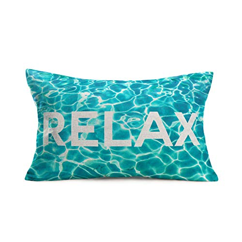 """YANGYULU Summer Blue Ocean Background Throw Pillow Covers Relax Words Print Decorative Cotton Linen Throw Pillow Case for Home Sofa Car Couch 12""""x20""""Cushion Cover (Relax)"""