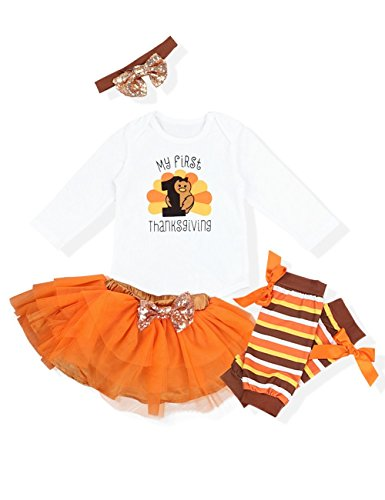 My First Thanksgiving Baby Girl Outfits Letter Romper Bodysuit Orange Skirt with Headband Clothes Set 3-6 Months