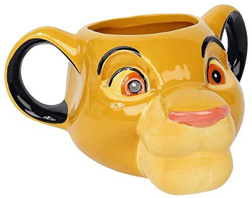 Disney 3D Tasse König der Löwen Simba weiß, bedruckt, aus Keramik, 320 ml., in Geschenkkarton.